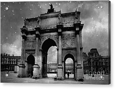 Acrylic Print featuring the photograph Paris Louvre Entrance Arc De Triomphe Architecture - Paris Black White Starry Night Monuments by Kathy Fornal