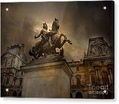 Paris - Louvre Palace - Kings Of Paris - King Louis Xiv Monument Sculpture Statue Acrylic Print