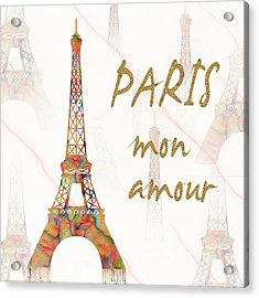 Acrylic Print featuring the painting Paris Mon Amour Mixed Media by Georgeta Blanaru