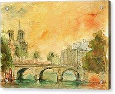 Paris Notre Dame Acrylic Print by Juan  Bosco