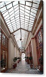 Paris Galerie Vivienne - Paris Glass Dome Street Architecture - Galerie Vivienne  Acrylic Print by Kathy Fornal