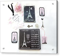Acrylic Print featuring the photograph Paris Pink Black French Script Wall Decor Art, Paris Print Collection  - Parisian Pink Black Decor   by Kathy Fornal