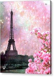 Paris Pink Dreamy Eiffel Tower Romantic Cherry Blossoms  - Paris Eiffel Tower Pink Spring Blossoms Acrylic Print by Kathy Fornal