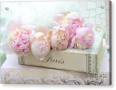 Paris Pink Peonies Romantic Shabby Chic French Market Peonies - Paris Romantic Peonies And Book Art Acrylic Print by Kathy Fornal