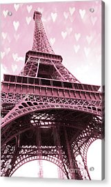 Paris Pink Romantic Eiffel Tower Valentine Hearts - Eiffel Tower Baby Girl Nursery Room Wall Art Acrylic Print by Kathy Fornal