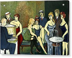 Paris Salon Scene Women In Seductive Cloths Impressionistic Piano Hats Table Chair Mustache  Acrylic Print