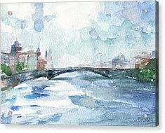 Paris Seine Shades Of Blue Acrylic Print by Beverly Brown