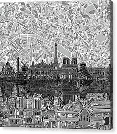 Paris Skyline Black And White Acrylic Print