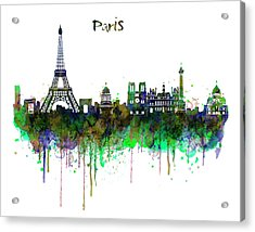 Paris Skyline Watercolor Acrylic Print