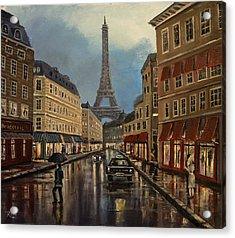 Paris Street Sciene At Night Acrylic Print