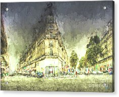 Acrylic Print featuring the mixed media Paris Streets by Jim  Hatch