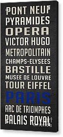 Paris Subway Stations Vintage Acrylic Print