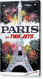 Paris - Twa Jets - Trans World Airlines - Eiffel Tower - Retro Travel Poster - Vintage Poster Acrylic Print