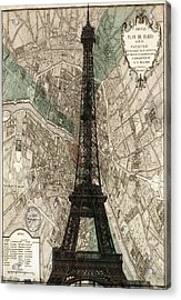 Paris Vintage Map And Eiffel Tower Acrylic Print by Georgia Fowler