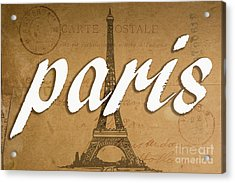Paris Vintage Sign With Eiffel Tower Acrylic Print