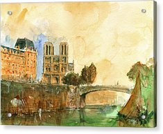 Paris Watercolor Acrylic Print by Juan  Bosco
