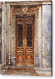 Acrylic Print featuring the painting Parisian Door No.7 by Joey Agbayani
