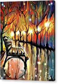 Acrylic Print featuring the digital art Park Bench by Darren Cannell