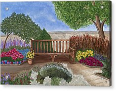 Park Bench In A Garden Acrylic Print by Patty Vicknair