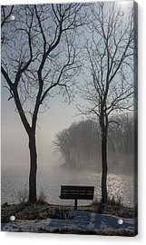 Park Bench In Morning Fog Acrylic Print