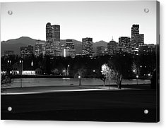Acrylic Print featuring the photograph Park Bench Under The Denver Colorado Skyline - Black And White by Gregory Ballos