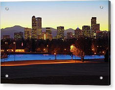 Acrylic Print featuring the photograph Park Bench Under The Denver Colorado Skyline by Gregory Ballos