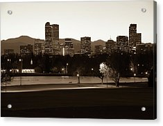 Acrylic Print featuring the photograph Park Bench Under The Denver Colorado Skyline - Sepia 2 by Gregory Ballos