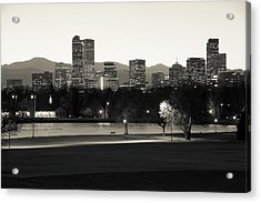 Acrylic Print featuring the photograph Park Bench Under The Denver Colorado Skyline - Sepia by Gregory Ballos