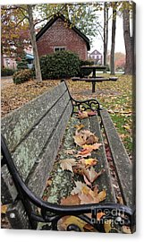 Park Bench With Maple Leaves In Autumn Acrylic Print