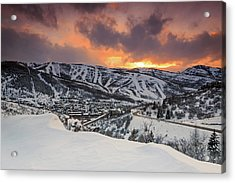 Acrylic Print featuring the photograph Park City Winter Sunset. by Johnny Adolphson
