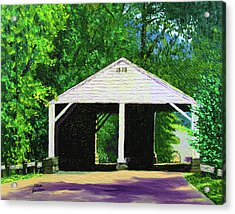 Park Covered Bridge Acrylic Print by Stan Hamilton