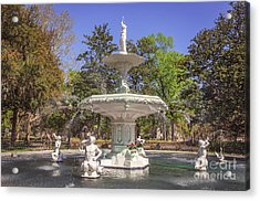 Park Fountain Acrylic Print by Joan McCool
