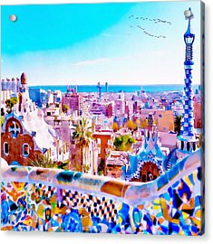Park Guell Watercolor Painting Acrylic Print by Marian Voicu
