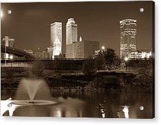 Park View Of The Tulsa Skyline Sepia - Oklahoma Usa Acrylic Print by Gregory Ballos