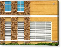 Acrylic Print featuring the photograph Parking Garage Vent Wall Detail by Frank J Benz