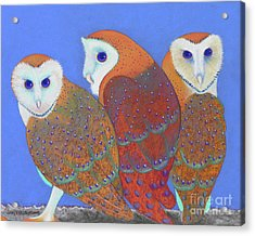 Parliament Of Owls Detail 2 Acrylic Print by Tracy L Teeter