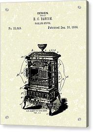Parlor Stove Bascom 1884 Patent Art Acrylic Print by Prior Art Design