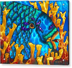 Parrotfish And Fire Coral Acrylic Print