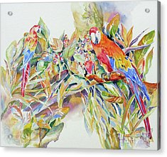 Acrylic Print featuring the painting Parrots In Paradise by Mary Haley-Rocks