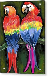 Acrylic Print featuring the painting Parrots by Kevin Middleton