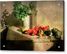 Acrylic Print featuring the photograph Parsley And Peppers by Diana Angstadt