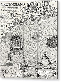 Part Of Captain J Smith's Map Of New England Acrylic Print