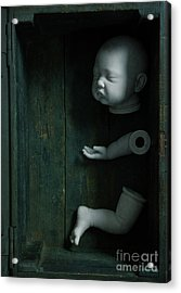 Acrylic Print featuring the photograph Parts Of A Plastic Doll In A Wooden Box by Lee Avison