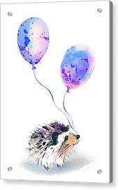 Party Hedgehog Acrylic Print by Krista Bros