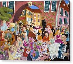Party In The Courtyard Acrylic Print by Tatjana Krizmanic