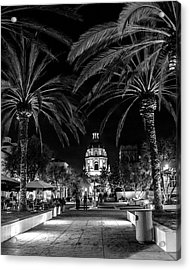 Acrylic Print featuring the photograph Pasadena City Hall After Dark In Black And White by Randall Nyhof