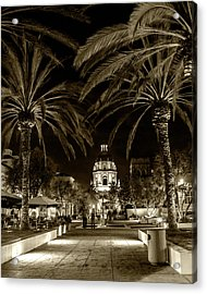 Acrylic Print featuring the photograph Pasadena City Hall After Dark In Sepia Tone by Randall Nyhof