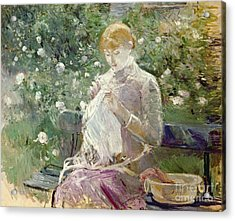 Pasie Sewing In Bougivals Garden Acrylic Print by Berthe Morisot