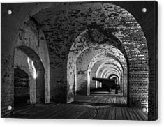 Passageways Of Fort Pulaski In Black And White Acrylic Print