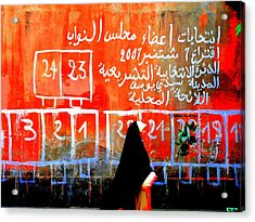 Passing By Marrakech Red Wall  Acrylic Print by Funkpix Photo Hunter